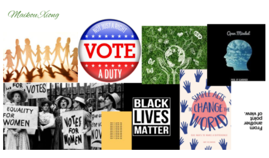Collage of pictures referencing voting rights