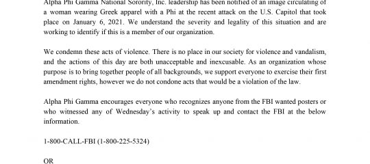 Alpha Phi Gamma - January 6 DC Statement