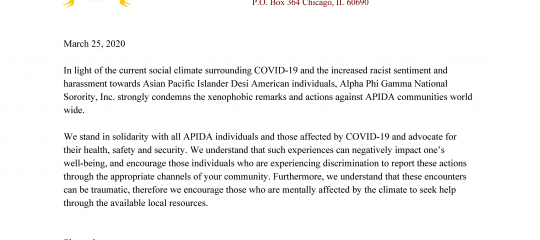 COVID-19 Racism Release Statement